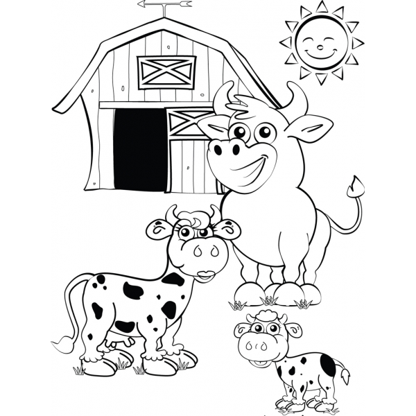 Disegno di la fattoria con le mucche da colorare per for Disegni di casa in stile fattoria