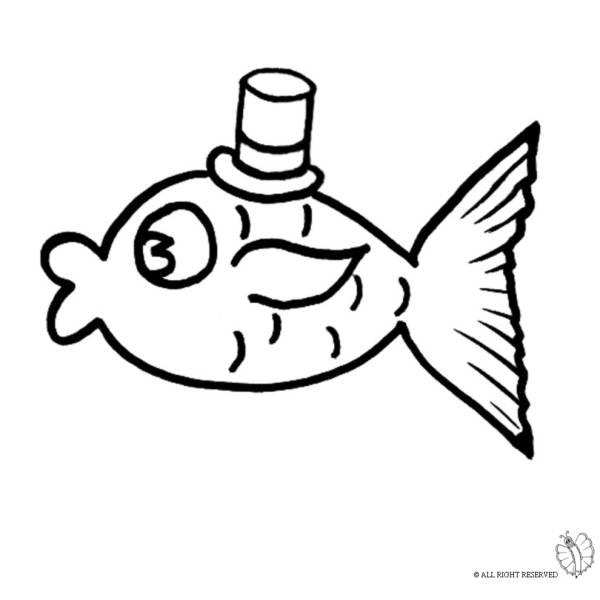 Disegno di pesce con cappello da colorare per bambini for Disegni pesciolini da colorare