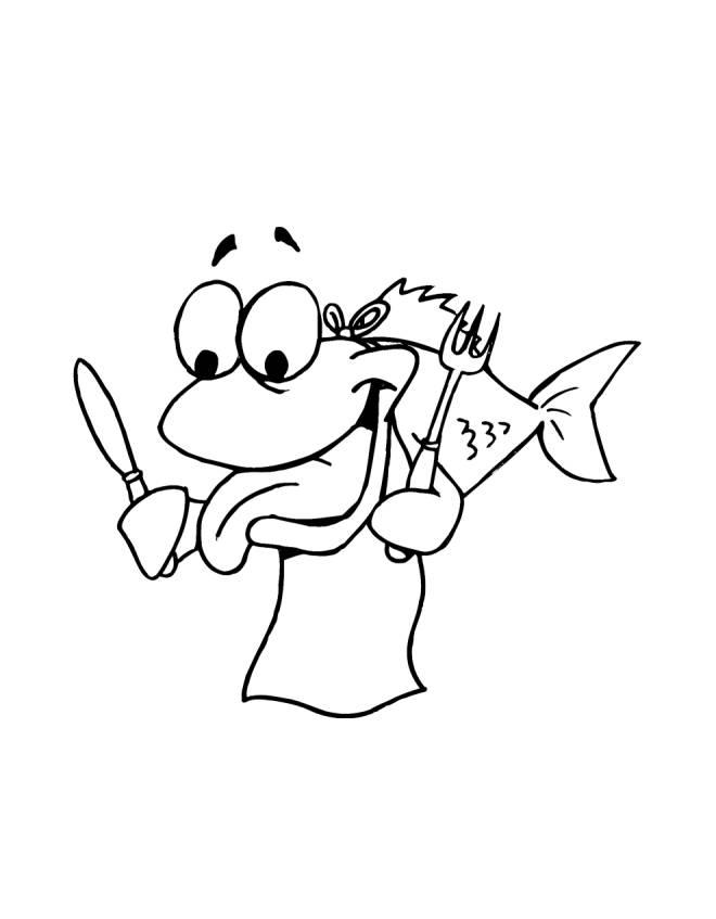 disegno di Pesce Affamato da colorare