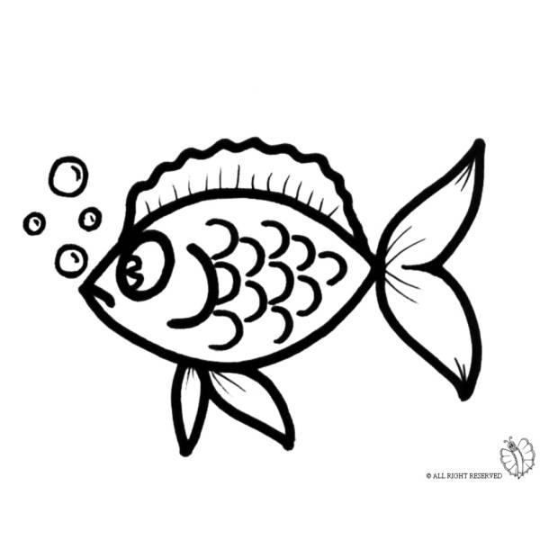 disegno di pesciolino con le bollicine da colorare per