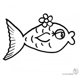 Disegno di pesciolino rosso da colorare per bambini gratis for Disegni da colorare pesciolini