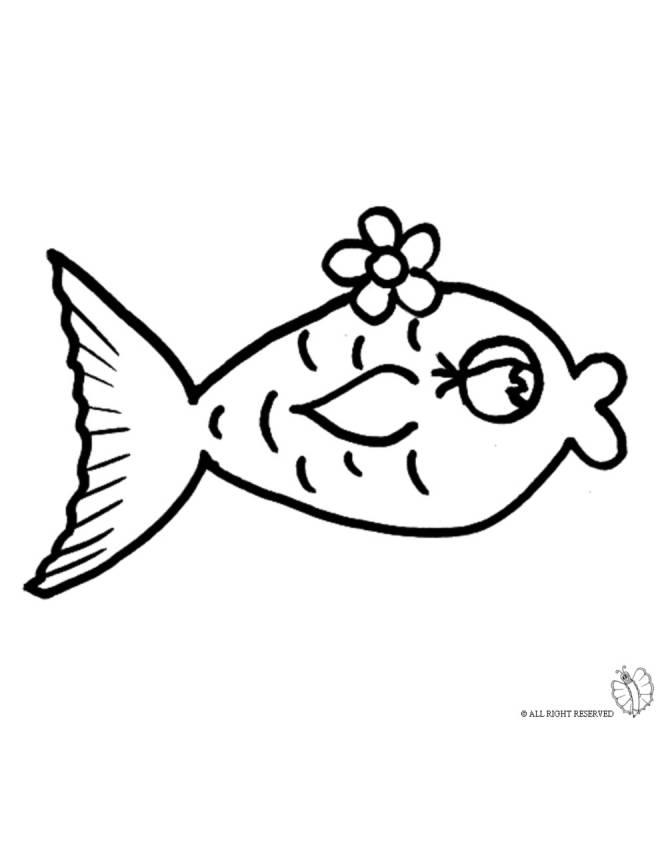Disegno di pesciolino rosso da colorare per bambini for Pesciolino da colorare