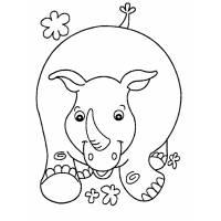 Disegno di Rinoceronte Felice da colorare