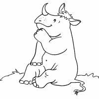 Disegno di Rinoceronte Seduto da colorare