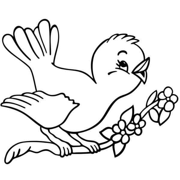 Disegno di Uccelli in Primavera da colorare