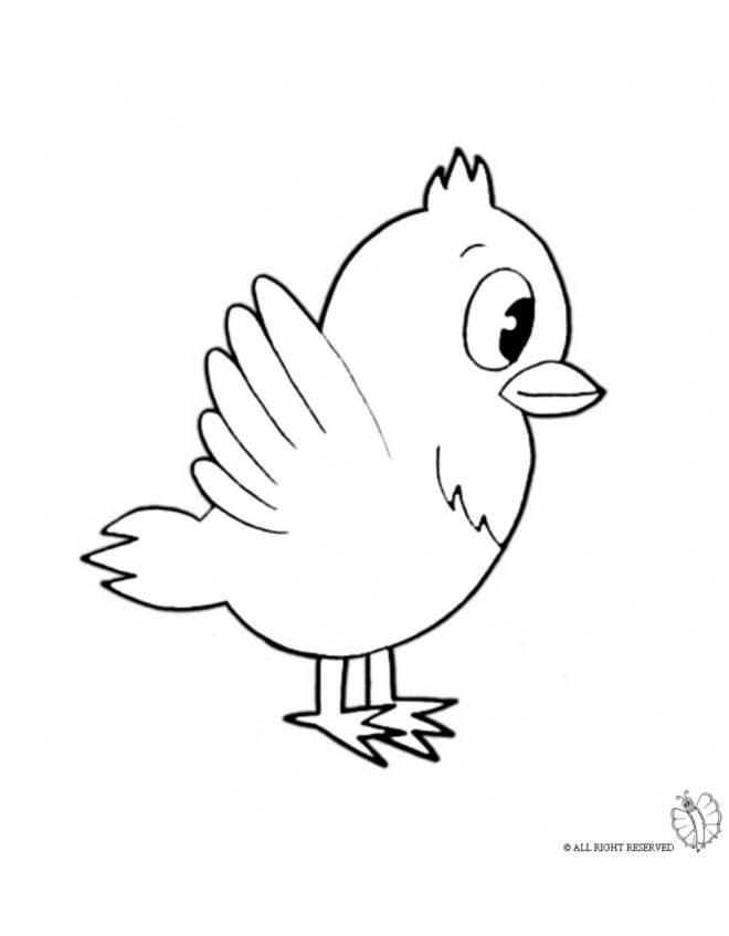 Disegno di uccello da colorare per bambini for Uccellino disegno