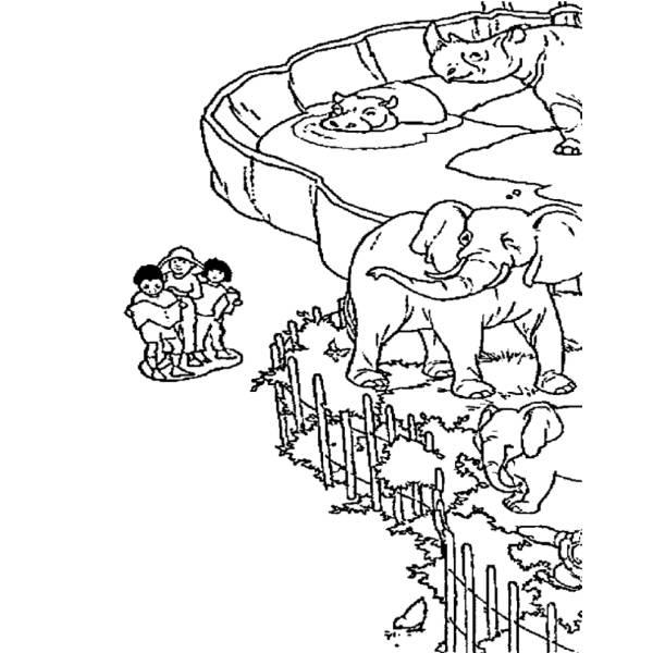 Disegno di zoo da colorare per bambini