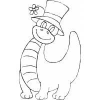 disegno di Dinosauro con Cappello da colorare