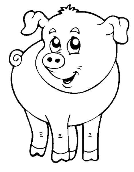 disegno di il maialino della fattoria da colorare per