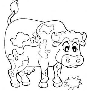 Disegno di la mucca della fattoria da colorare per bambini for Maialino disegno per bambini