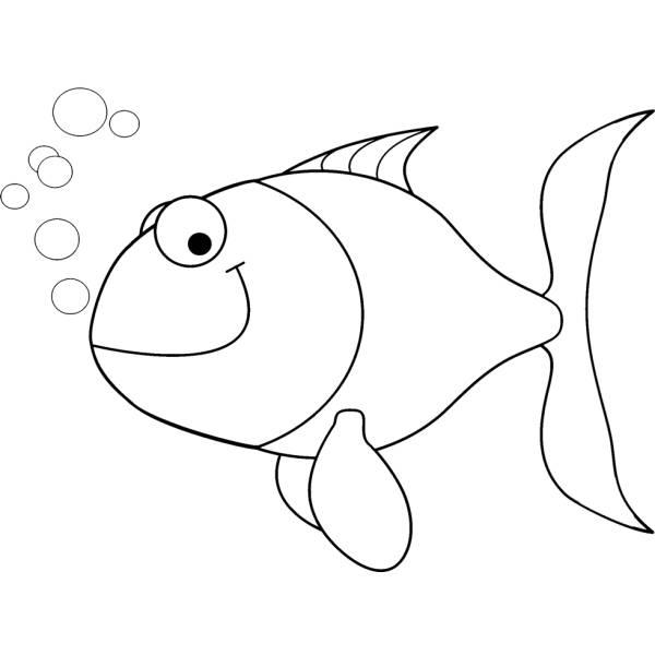 Disegno di pesciolino con bollicine da colorare per for Pesci da colorare per bambini