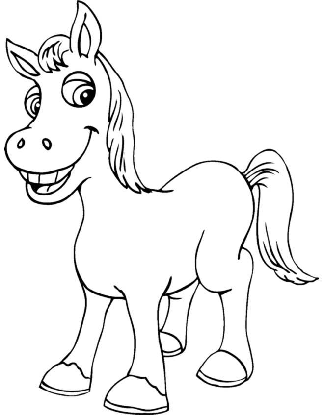 Disegno di piccolo cavallo da colorare per bambini for Disegni di cavalli da stampare e colorare
