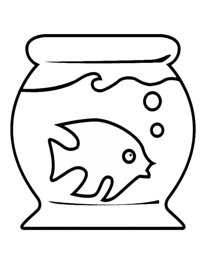 disegno di acquario con pesciolino da colorare per bambini