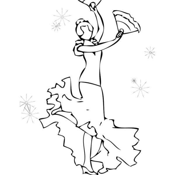 Popolare Disegno di Ballerina di Flamenco da colorare per bambini  AE73