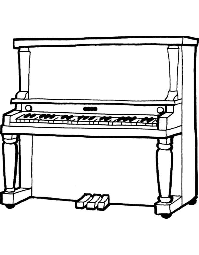 disegno di pianoforte da colorare per bambini