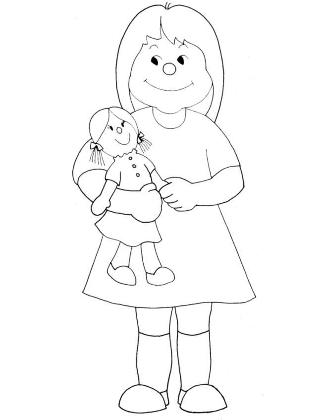 Disegno di bambina con bambola da colorare per bambini for Disegno bambina da colorare