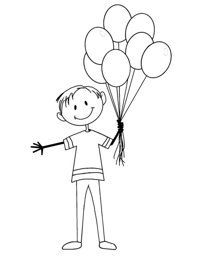 Disegno di il ragazzo coi palloncini da colorare per - Immagine con palloncini ...