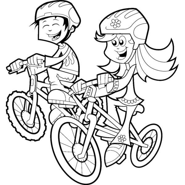 Disegno di Bambini in Bicicletta da colorare