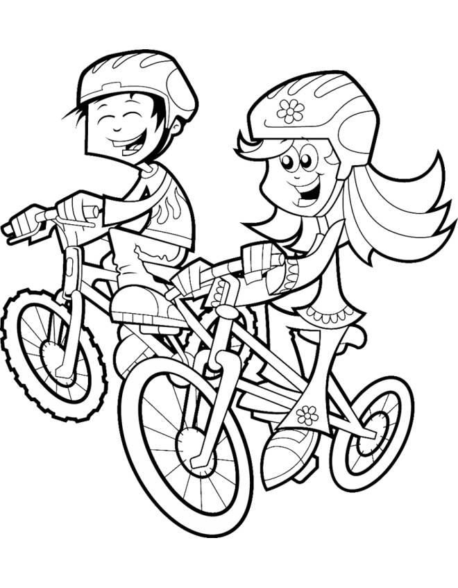 Disegno Di Bambini In Bicicletta Da Colorare Per Bambini Disegnidacolorareonline Com