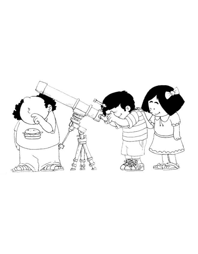 Disegno di bambini con telescopio da colorare per bambini for Comodini per bambini online