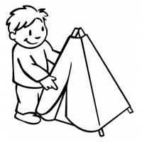 Disegno di Bambino con Tenda da colorare