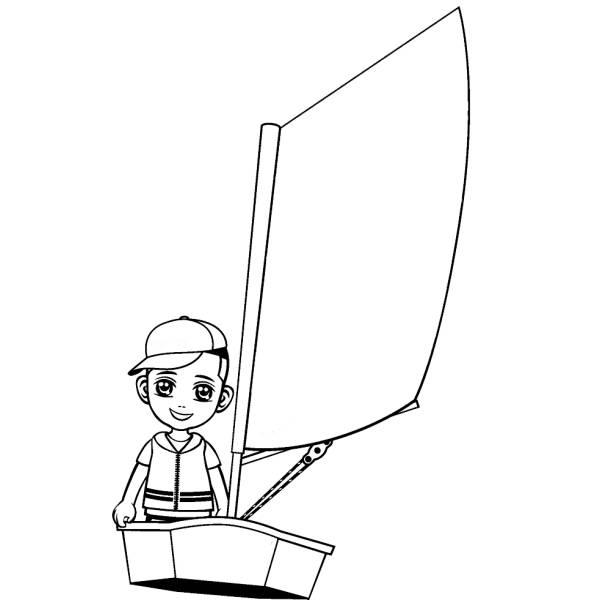 Disegno di Bambino in Barca a Vela da colorare