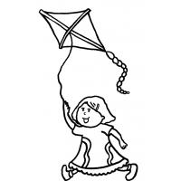 Disegno di Bambina con Aquilone da colorare