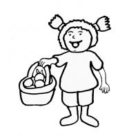 disegno di Bambina con Cestino di Frutta da colorare