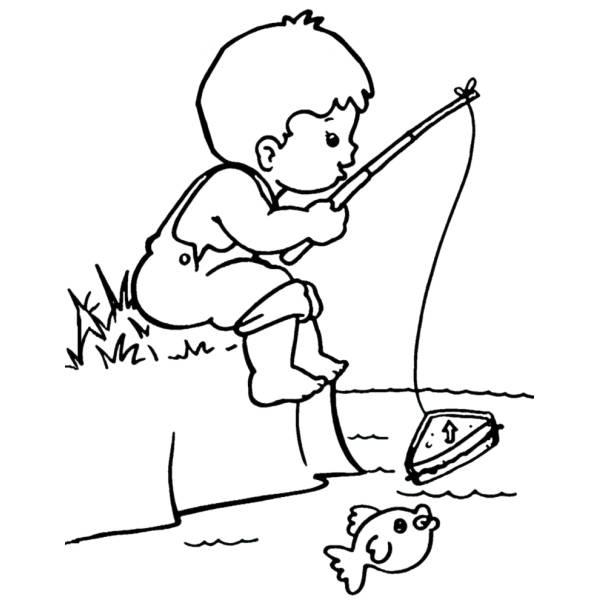 Disegno di bambino a pesca da colorare per bambini for Disegni di pesci da colorare