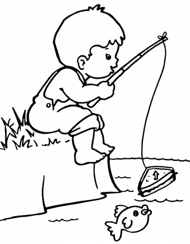 Preferenza Stampa disegno di Bambino a Pesca da colorare VR29