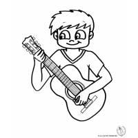 disegno di Bambino con Chitarra da colorare