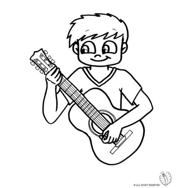 Disegno Di Bambino Con Chitarra Da Colorare Per Bambini