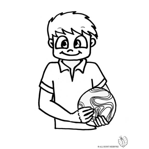 Disegno di bambino con pallone da colorare per bambini for Disegni calciatori da colorare per bambini