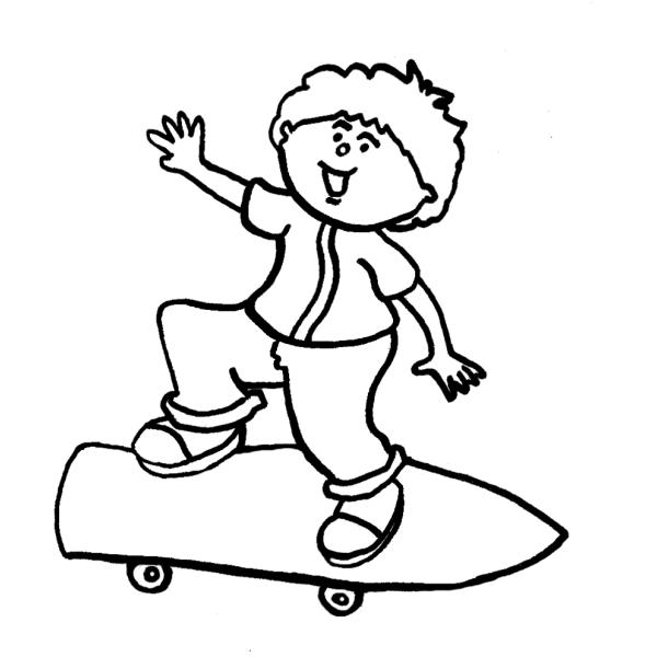Disegno di Bambino con Skateboard da colorare