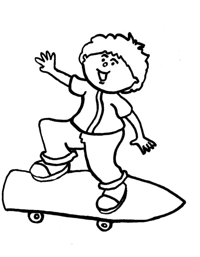 Stampa disegno di Bambino con Skateboard da colorare