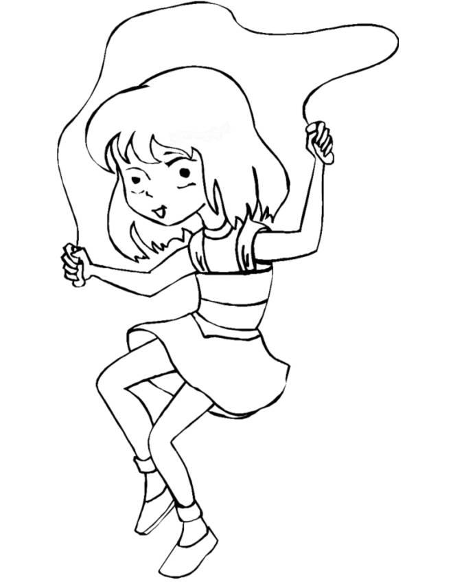 Disegno di il gioco della corda da colorare per bambini for Disegno bambina da colorare