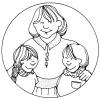 Disegno di Mamma e Figli da colorare