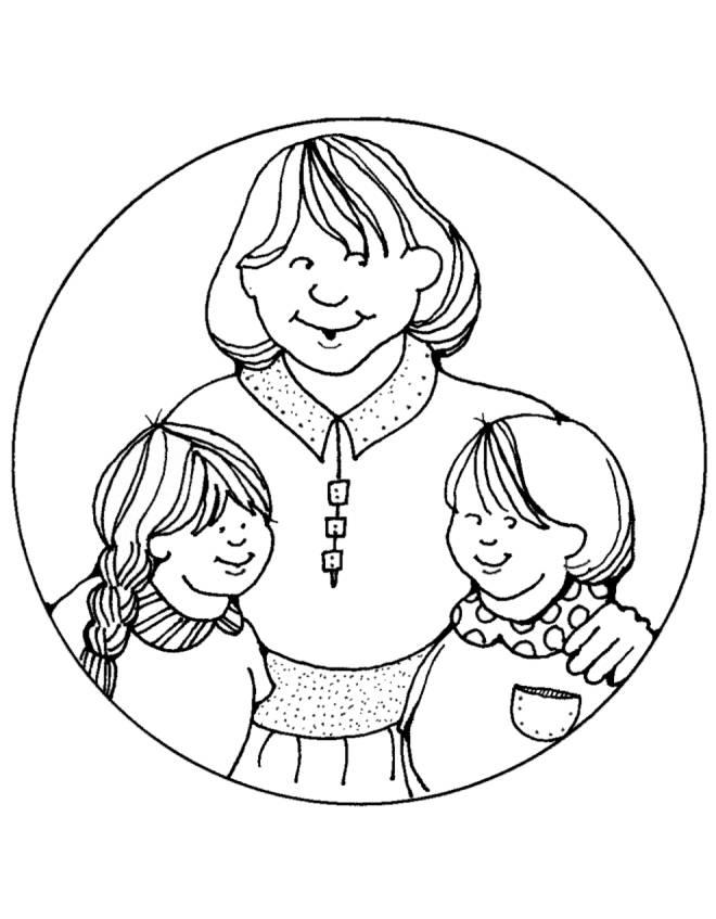 Stampa disegno di mamma e figli da colorare for Disegnare la planimetria online gratuitamente