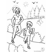 disegno di Mamma e Figlio al Parco da colorare