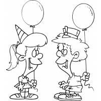 Disegno di Festa con Palloncini da colorare