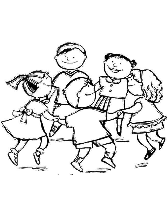 Disegno di girotondo da colorare per bambini for Disegni da colorare per adulti e ragazzi