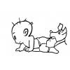 disegno di Neonato e Cane da colorare
