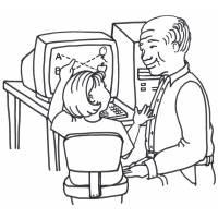Disegno di Nonno e Nipote al PC da colorare