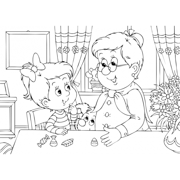 Disegno Di Nonna E Nipotina Da Colorare Per Bambini