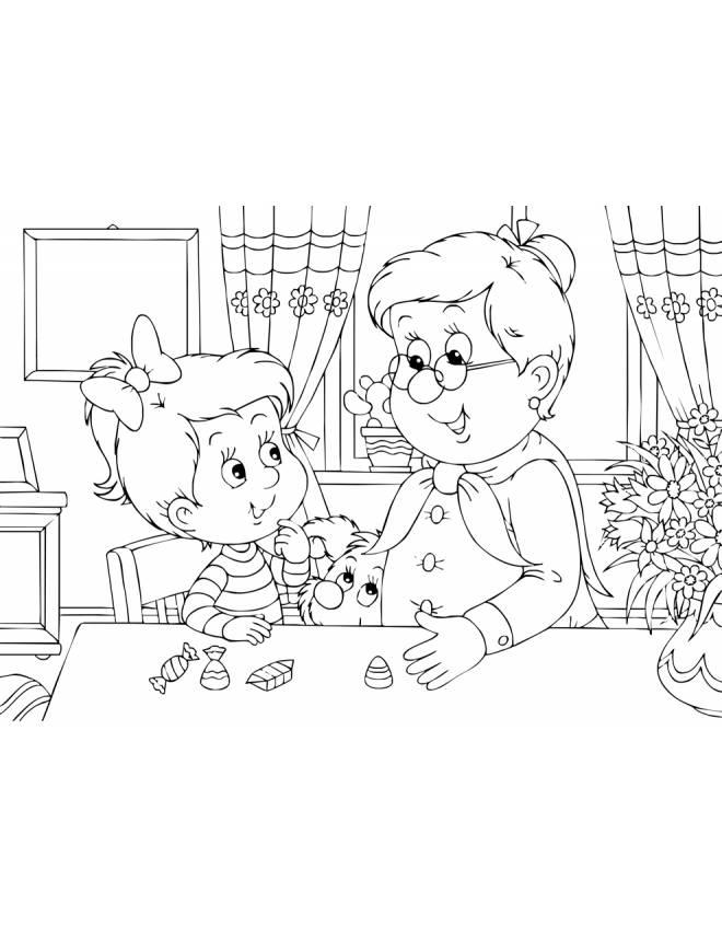 Disegno di nonna e nipotina da colorare per bambini for Disegno bambina da colorare