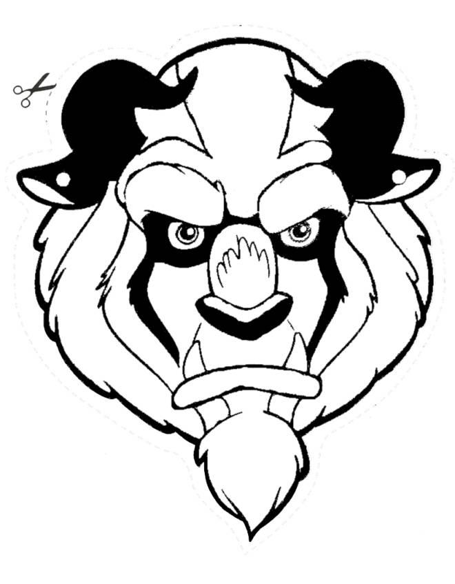 Stampa disegno di maschera della bestia da ritagliare da for Immagini da ritagliare