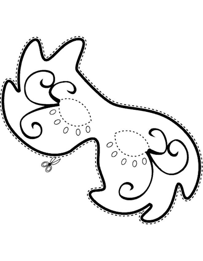 Disegno di maschera di carnevale da colorare per bambini for Immagini da ritagliare