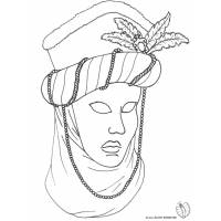 Disegno di Maschera Carnevale di Venezia da colorare