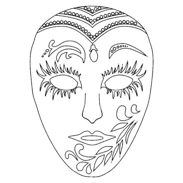 Disegno di Maschera di Carnevale da colorare