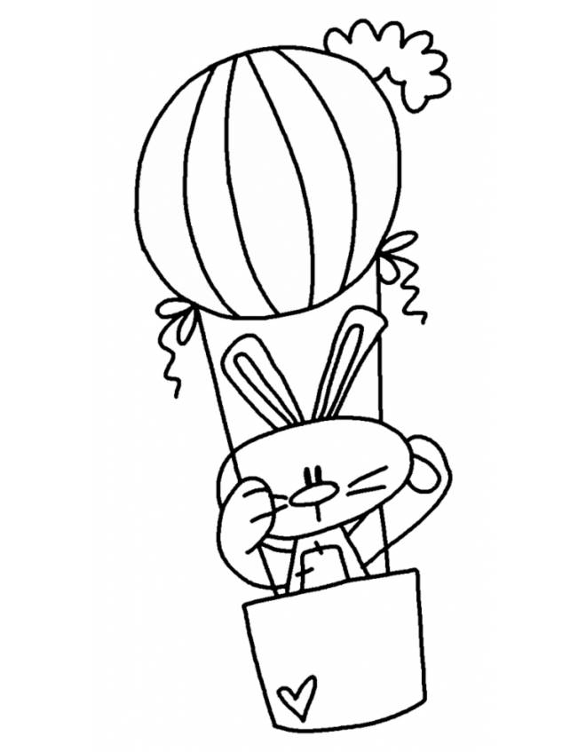 Disegno di coniglio in mongolfiera da colorare per bambini for Coniglio disegno per bambini